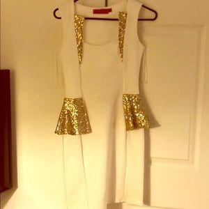 Ivory and gold sequin peplum minidress